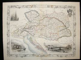 Austria: 1852 Antique Map. Decorative. Tallis Rapkin